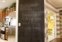 Black board in kitchen