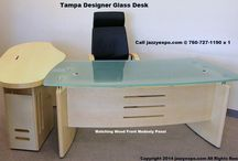 Tampa Designer Glass Desk / The Tampa Designer Glass Desk also comes with a matching wood front modesty panel. The glass is frosted for privacy and glare from the lights.  http://www.jazzyexpo.com/glassdesk.html