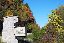 """Bellevue Area Attractions / Meaning """"beautiful view"""", Bellevue is nestled between  towering wooded bluffs and is bordered by the mighty  Mississippi River along the Great River Road."""
