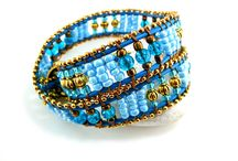 Modetrend Wasserfarben / Modetrend Wasserfarben mit Wickelarmband royal in kobaltblau-gold