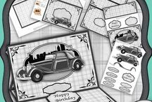 Car themed decoupage kits for download / All these cards have been made using my downloads which I sell on Craftsuprint.