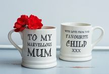 """Family Mugs / As we're so often reminded """"family comes first"""". After all, blood is thicker than water. Celebrate family times with a mug for every member of the family. Give them as gifts or keep them at yours to make guests feel extra special when they pop in for a cuppa."""