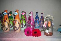 botellas pintadas / decoración de botellas con acrílicos