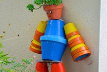 Un petit bonhomme en pots ! / Un très joli bonhomme croisé ce matin aux espaces verts du FOT Braconnac-Les ormes de Lautrec (Le pays de l'ail rose)...