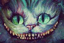 Um gato, risonho.