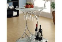 Rolling Bar Carts with Mirrored & Glass Shelves / Budget-friendly rolling Bar Carts with wheels and fabulous glass & mirrored shelves; some have wine stem racks and wine bottle holders.