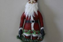 Christmas Santas / Handcrafted primitive or country styled Santas