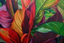 Tropical Leaves / This is a series of paintings that I am working on.  It all began with canna lilies.  I was intrigued with how the sun transformed the colours of the leaves as it shone through them.