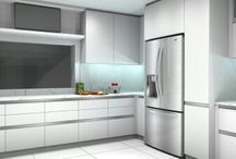 minimalist white kitchen design. SDM