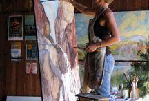 Artists in their studios.