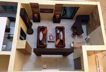 Modellino in scala 1:10 / Soggiorno - cucina- balcone