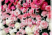 Our favorite real flower backdrops / Flower wall and wedding backdrop inspiration