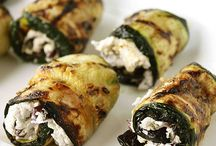 Grilled zucchini with goat's cheese and kalamata okices
