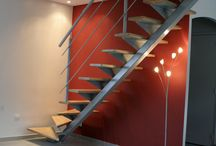 escalier limon central métal bois