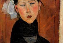 Amedeo Modigliani / Peintre et sculpteur italien (1884-1920). Connu au départ comme peintre figuratif, il est devenu célèbre par ses peintures et ses sculptures de facture dite modernes où les visages ressemblent à des masques et où les formes sont étirées. / by Vicou S.