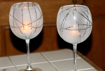 wine glass candle holder / Wine glass