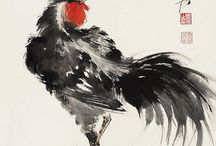 dessins coq et poules