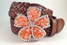 Spring Flower Belt Buckles / These beautiful spring flower belt buckles will compliment any outfit.  Add a Swarovski Crystal belt buckle from Buckle Your Belt and bump it up a notch!  $74.99 Woven Leather Belt included.  See our website for our entire collection. http://www.buckleyourbelt.com/FlowerBuckles.html