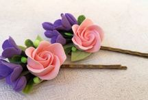 My works(Hair combs) / #Head decorations #Hairstyles #Hair Accessories #a stylish accessory #barrette #flowers #polymer clay #wedding accessory