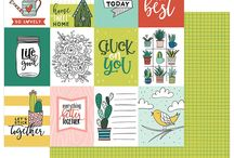 """Stuck On You by Shawna Clingerman / We are excited to introduce you to the wonderful artwork of Shawna Clingerman! Stuck On You is filled with luscious succulents, darling cactus and beautiful florals, all in aunique color palette of teals, blues, reds and greens. The stickers and die cuts hold inspiring messages and encouraging sentiments. This collection includes a black and white """"color it yourself"""" pattern, perfect for coloring enthusiasts. Shipping June 2018"""