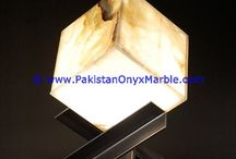 ONYX LAMPS SQUARE CUBE RECTANGLE SHAPED TABLE LAMPS HANDCARVED NATURAL STONE LIGHTING