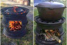 ognisko gril w ogrodzie