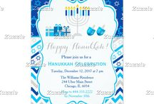 Happy Hanukkah Star Dark Blue and Silver / This collection features a Hanukkah Menorah, gifts and dreidels. The background consists of stars of david on a dark blue background, chevrons and a blue and silver star ribbon.