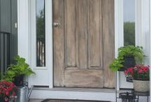Painted front door with chalk paint