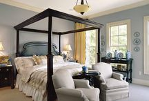 Sanctum / My bedroom walls are Behr Malibu Blue, my furniture is black and I'm searching for all white linens and accents