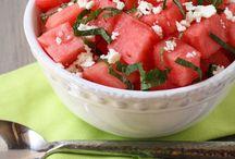 Plats avec melon d'eau