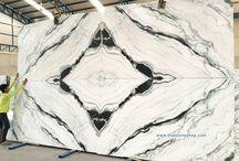 หินอ่อนแท้ Phantom White งานติดตั้งต่อลาย Bookmatch
