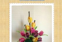 Composizione fiori uncinetto