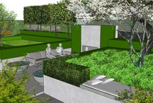 Project Viburnum Gate / CONTEMPORARY RESIDENTIAL GARDEN DESIGN     The key brief from the clients for this garden was to create a bit of a Wow Contemporary garden that could be used for their upcoming 'big' celebration party, whilst at the same time creating value for the clients, so that any expenditure on the garden would be recouped in due course when the property was sold.  https://www.aralia.org.uk/portfolio/viburnum-gate-2/