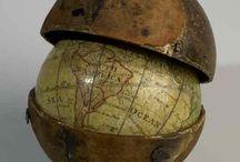 Globes around the world.