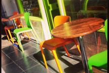 Portland Cafe / Our Pop chairs in stunning Lime green and Orange look great inside and outside this busy London independent cafe.  Find out more about the Pop stackable side chair here http://bit.ly/MTTQiA