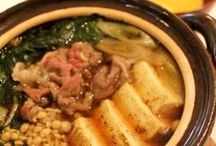 SUKIYAKI / thin slices of beef cooked with vegetables at the table in soy sauce, sake and sugar