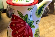 Pottery painting / Floral small soy sauce pot