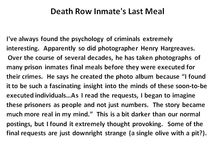 'My Last Supper' / Death Row Inmate's Last Meal