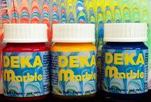 Marmorierfarbe  DEKA-Marble / Marmorierfarbe auf Wasserbasis einfache Gestaltung für Erwachsene und Kinder. Geeignet für Stoff, Leder, Papier, Holz usw.