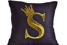 sequin monogram pillow