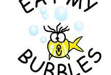 """Swimming Like a Fish? / Temporary Tattoos for the fun swimmer in the family! """"Eat My Bubbles"""" tattoo! With Louie the Fanautical Fish! / by June Wooding"""