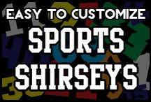 Sports Shirseys / It's like a sports jersey, in t-shirt form! Easy to customize by adding your own name and number. Hockey, lacrosse, field hockey, soccer and baseball shirseys available.