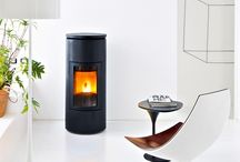 Black and White wood Pellet Stoves and interior design inspiration / Pictures of black and white wood pellet stoves. Pictures of  stoves that compliment black and white as an interior design colour.