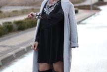 Grey & Black / #LBD #ChicStyle #Fashion #Pink #Coat #MaxiCoat #GreyCoat #StreetStyle #Necklace #OverTheKneeBoots #Flare #LaceDress http://gabbynnia.com