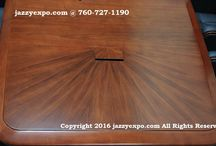 Maryland Executive Conference Table in Brown Walnut / The Maryland Executive Conference Table is a new design for 2017. The price includes data port panels, solid wood edge, and a sunburst pattern on each of the ends. See the pictures for yourself.