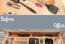 Wooden kitchen drawer organization