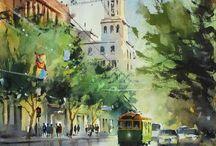 Akvarel / Akvarelové malby, navody