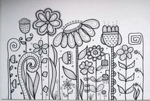 Doodle flowers and birds