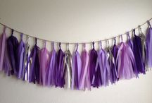 Jaimee's Shower / -- theme: purple and touches of teal -- food: thai menu -- ideas: outdoor, sit down, dinner -- decorations: purple paper garland, FLOWERS, ribbon streamers -- games: book raffle, how well do you know Jaimee's Baby? (?), price is right (?)