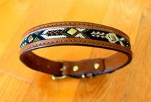 Handmade Dog Collars with Friendship Bracelet / Handmade Seiba Leather Dog Collars